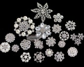 SALE 20pcs Clear Rhinestone Embellishment Flatback Buttons Assorted Rhinestone Center Brooch Crystal Bouquet Lot