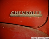 Car Photography, Old Chevy, Chevrolet, Red, Classic Car, Vintage Automobile, Color Photographic Print 8x10