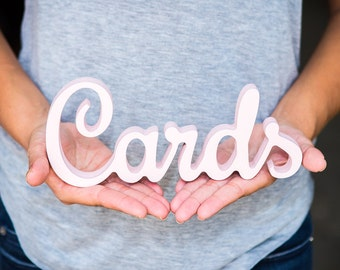 """Cards Sign for Wedding Card Table - Freestanding """"Cards"""" - Wooden Wedding Sign for Reception Decorations (Item - TCA100)"""