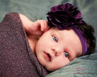 Dark Purple Flower Headband, Plum Baby Headbands, Purple Headband, Newborn Headband, Toddler Headband, Flower Girl Headband, Purple Hair Bow