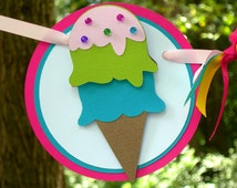 Double Scoop Ice Cream Cone Birthday Banner MADE TO ORDER