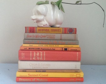 Vintage Books / Orange Books / Orange Decor / Retro Orange Decor / Orange and Yellow / Tangerine / Lemon Yellow