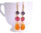 Hot Pink Orange and Purple Earrings Gold Rhinestone long - Bridal Jewelry, Set of 2, 3, 4, 5 ,6 ,7 ,8 ,9 10, 11, 12 Dangle