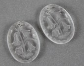 Pair of Vintage Western German Floral Blue Bell Oval Glass Pendants