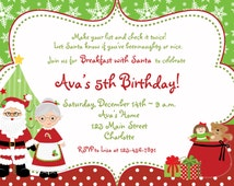 Christmas Birthday Party Invitation Breakfast with Santa Invitation