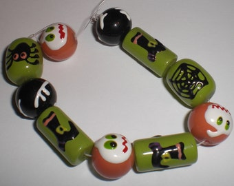 Halloween Glass Beads - Set of 10 - Witch Boot, Spider, Ghost, Web
