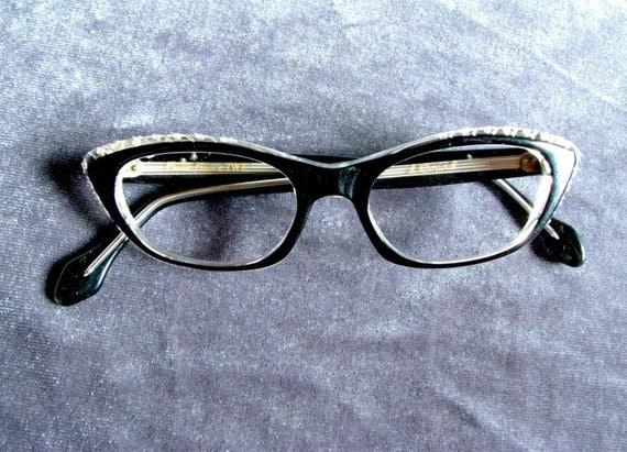 Black Designer Eyeglass Frames : Black Cateye Vintage L. Evrard Designer Eyeglass Frames