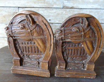 Vintage Horse BookEnds Syroco Wood