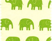 Elephants Fabric in Green - Tip Top Canvas by Daiwabo Japanese Fabric - 1 Yard
