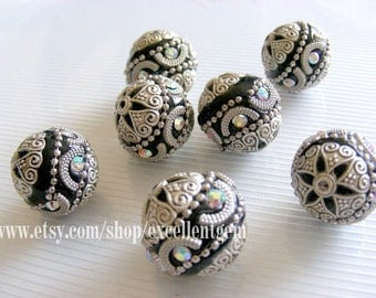 10pcs- Handmade Nepal style clay with silver plated brass,rhinestone bead in round shape,20mm