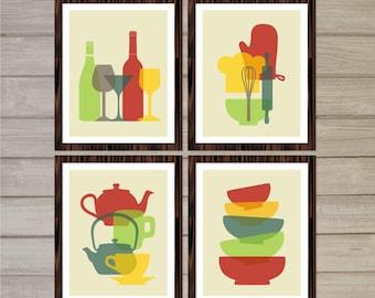 Retro Kitchen Printable Wall Art - Colorful Tea Pots, Wine Bottles, Bowls -8x10- Kitchen Decor Gift Instant Download Home Interior Design