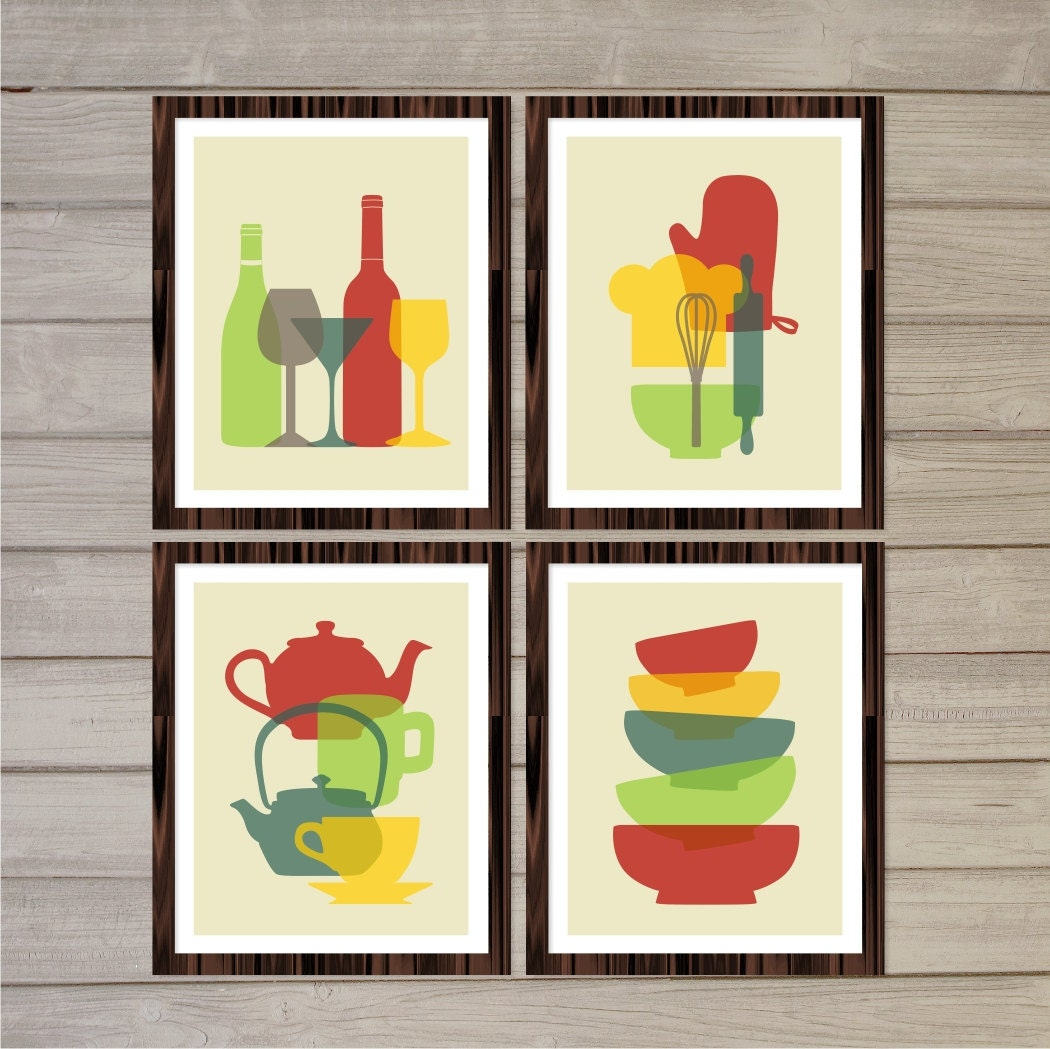 Retro Kitchen Wall Decor: Retro Kitchen Printable Wall Art Colorful Tea Pots Wine