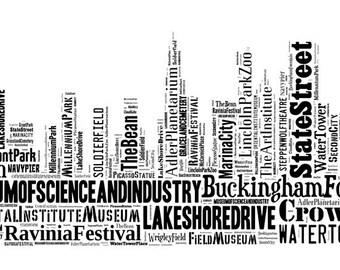 Chicago Skyline Typography Print Poster
