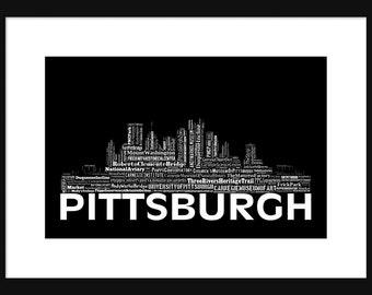 Pittsburgh Skyline Word Art 2 Typography Print Poster Map