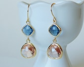 Peach champagne and sapphire glass gold two stone dangle earrings.  Bridal earrings.  Bridesmaids earrings.  Wedding jewelry.