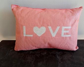 Pink Metallic & Velvet Love Pillow