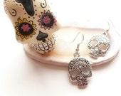 Skull Earrings / Skull Dangles / Silver Sugar Skull Earring / Day of the Dead Jewelry / Mini Cutout Skulls