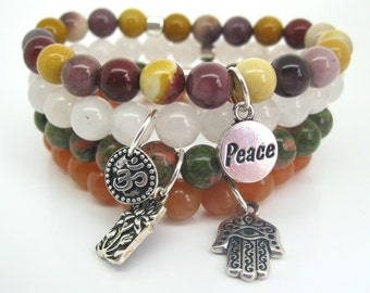 Stacking  Bracelet - Unakite with Lotus Flower Charm, Wellbeing, Yoga Beads, Spiritual Jewellery