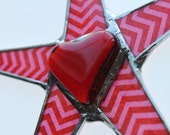 Zig Zag Heart Star- 9 inch lacquered glass and stained glass star