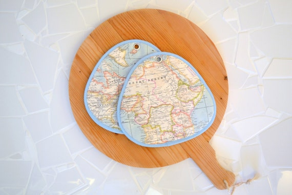 geography kitchen potholders - aqua - continent - map - africa - atlantic ocean