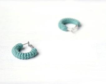 Green Earrings, Mini Crochet Tube Hoops, 1 inch hoop earrings