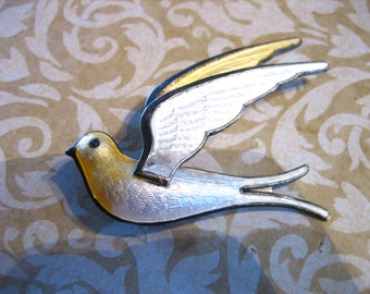 Vintage Sterling Guilloche Enamel Bird in Flight Norway Pin Brooch