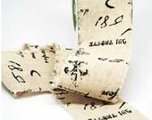 Cotton Blend Burlap Ribbon 2.5 inch -- Black Script Print -- Wide Burlap -- 2 yards