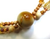 Citrine Agate Jasper Beaded Necklace Gemstone Semi-precious Stones