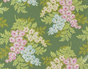 "LAMINATED Cotton  - Moss Bouquet, 56"" Wide, BPA & PVC Free"