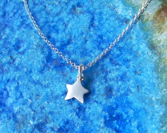 So tiny cute star sterling silver necklace mini charm gift for her birthday gift