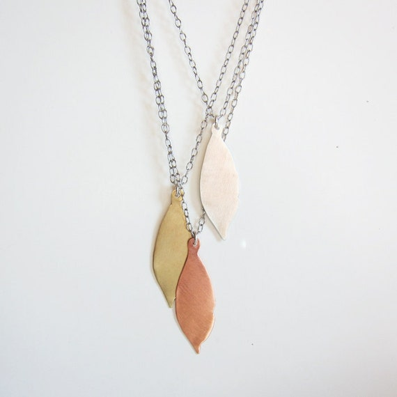 Multistrand mixed metals leaf necklace Long layer sterling silver copper brass necklace Modern nature jewelry