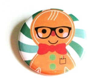 Christmas Pinback Buttons Gingerbread Accessories Geeky Xmas Party Favors