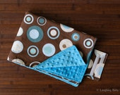 Waterproof diaper changing mat- brown with blue dots and bright blue minky