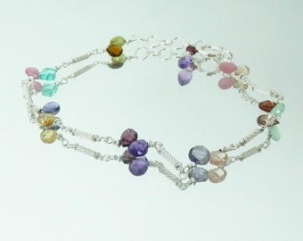 Multigem Briolette and Sterling Handmade Bracelet Chain