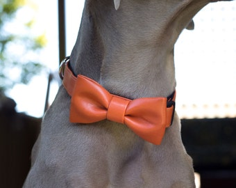 Many colors of Faux Leather to choose from, UsagiTeam vegan leather bow tie collar, dog faux leather, vegan leather dog collar