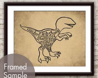 Velociraptor, A.k.a. Raptor Dinosaur Butcher Diagram - Art Print (Featured in Cork Board w Black) (Buy 3 and get One Free)