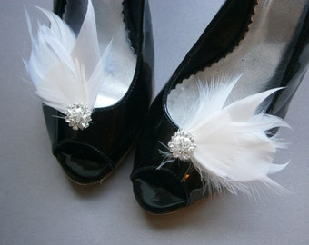 Bridal, feather, shoe, clips, ivory, off, white, Wedding, Accessory, antique, brides, feathered - IVORY & WHITE Shoe Clips