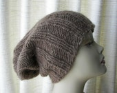 ICELANDIC WOOL Chunky HAND Knit Beanie Ski Hat in Brown / Lopi yarn Knit Slouch hat