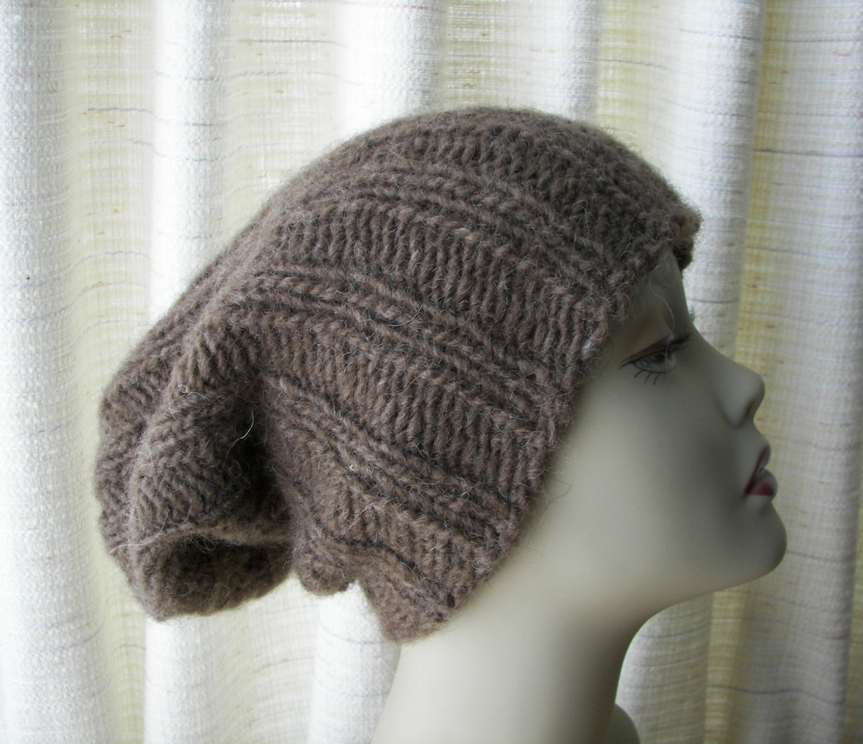 ICELANDIC WOOL Chunky HAND Knit Beanie Ski Hat in Brown / Lopi