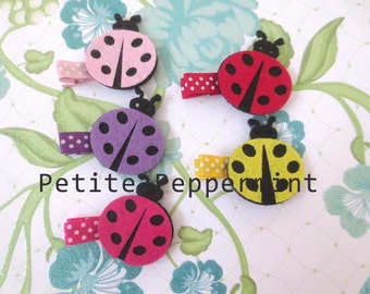 Baby Hair Clips, Baby Girl Hair Clips, Toddler Hair Clips - Ladybug Hair Clips SET OF TWO