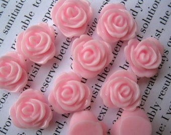 Pink Resin Flower Cabochon 14mm
