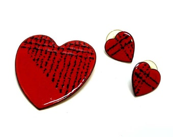 Valentines Heart Brooch and Earrings Set - Mid Century Copper and Enamel Mod Pop Art