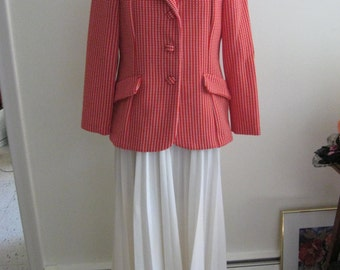 70's Vintage Dress  and Jacket / 70's Sleeveless Dress / RED and White / Nautical / Patriotic / Dress and Jacket / RED Polka Dot Jacket