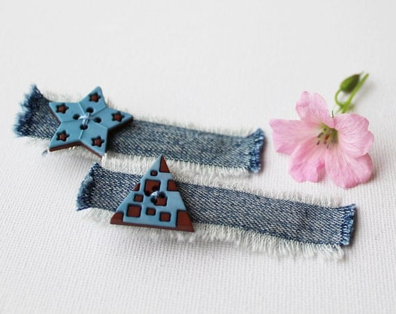 Hair Grip Set Powder Blue Star & Triangle Hair Clip. Pair of blue hair accessories, light blue hair clips. Girls stocking stuffer gift ideas