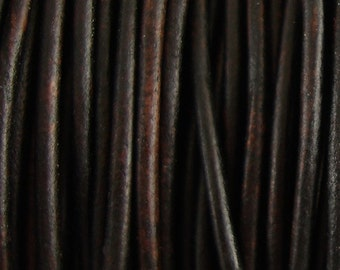 2mm Antique Brown Leather Cord, Distressed, Round, Genuine, Natural Dye, Lead Free, Soft, Choose Length