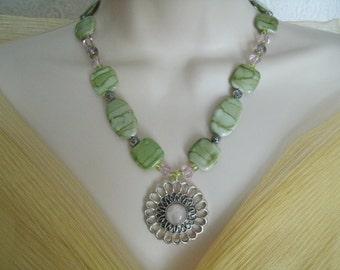 Rose Quartz Necklace, boho jewelry bohemian jewelry gypsy jewelry hippie jewelry hipster new age metaphysical moroccan boho necklace