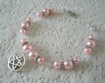 Pink Pentacle Bracelet, wiccan jewelry pagan jewelry wicca jewelry witch metaphysical witchcraft pentagram magic goddess wiccan bracelet
