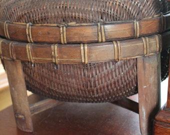 "Vintgae Basket- Boho Style 12"" x 8"""