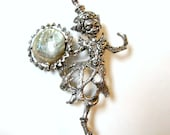 Pixie Elf Pin Fairy Brooch Sterling Silver Abalone Shell possible Cyvra
