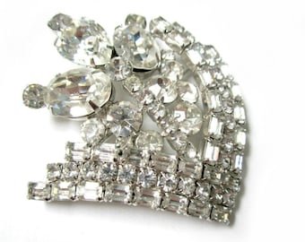 Vintage Clear Rhinestone Brooch Large Kramer Rhinestone Pin Designer Jewelry Gift Idea for Her Under 100